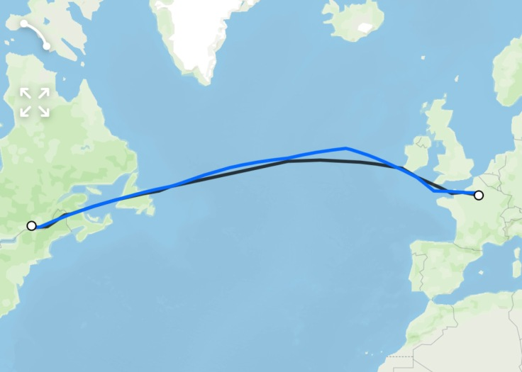 Montreal to Paris Route